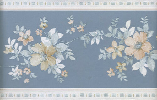 COUNTRY BLUE AND WHITE SILK FLORAL  WALLPAPER BORDER