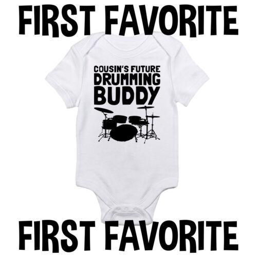 Cousin Drumming Buddy Baby Onesie Shirt Drums Drummer Shower Gift Newborn Gerber