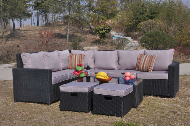 Admirable Garden Furniture Set Rattan Glass Table Sofa Cushions 8 Seats Black Patio Round Home Interior And Landscaping Oversignezvosmurscom