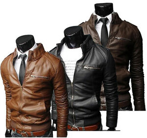 Mens Slim Fit Jacket Pullover Hoodie black brown winter sweatshirt jackets hood