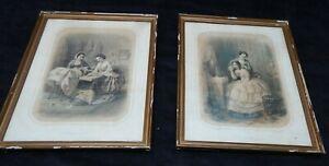 Paar-Lithographien-19eme-von-Regnier-Gerahmtes-034-Ihn-Plairais-Je-034-034-M-039-Aime-T-Il
