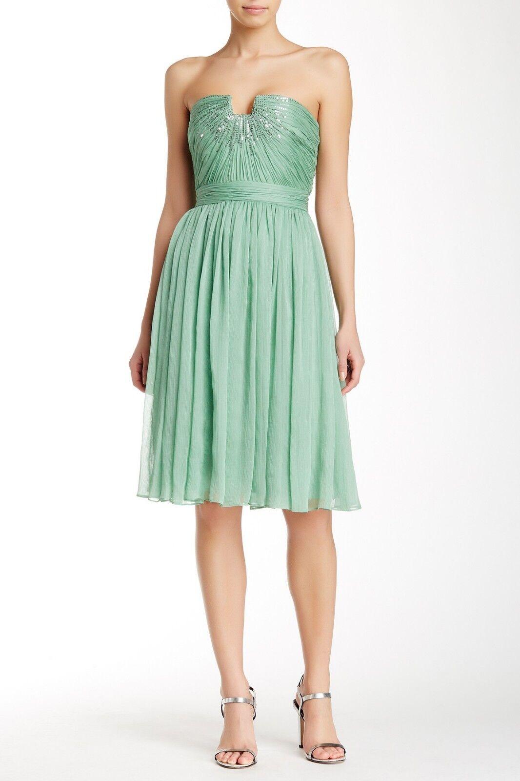 HALSTON HERITAGE Meadow Embellished Strapless Dress Größe 0 NEW