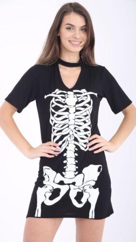 Ladies Girls Halloween Skeleton Print Bodycon Dress Legging Top Bodysuit Set