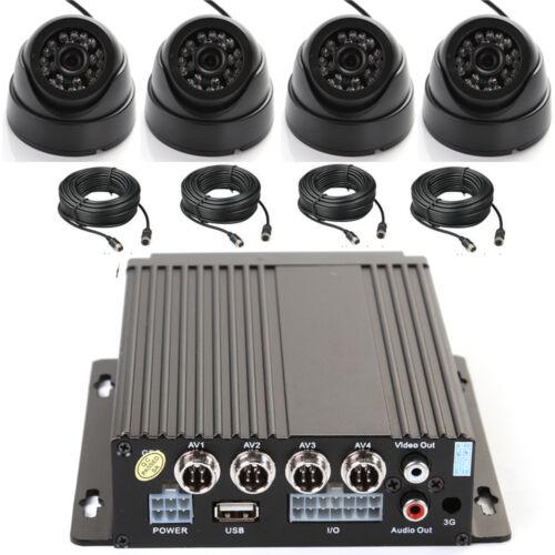 4 Camera /& Cable Kit Set 4CH AHD Auto Car Vehicle Mobile DVR LED Night Vision