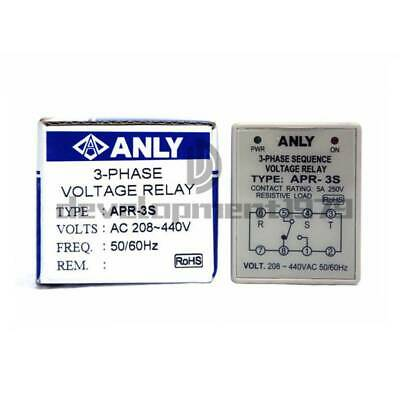 New In Box ANLY 3-Phase Sequency Voltage Relay APR-3S 208~440VAC