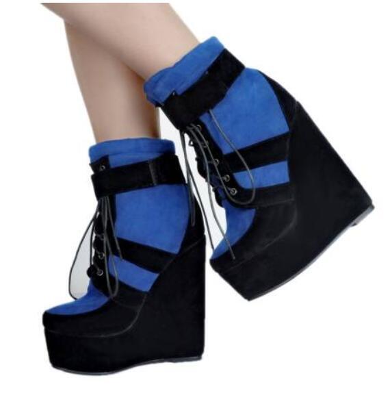 2019 da donna in pelle scamosciata plateau lacci UK SZ 35-47 Metà Polpaccio STIVALI CON ZEPPA TACCO scarpe
