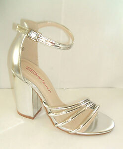 86f2f603a8a DOLCIS SIZE 4 ADELINE SILVER MIRROR HIGH BLOCK HEEL ANKLE STRAP ...
