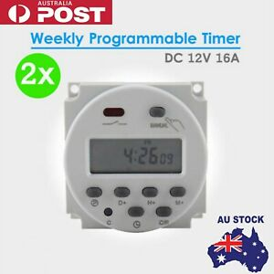 Details about LCD DAY PROGRAMMABLE TIMER TIME RELAY SWITCH 24 HOUR 7 AU  Mini DC 12V 16A