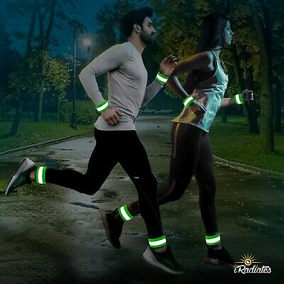 iRadiates Reflective Bands Reflector Running Gear Adjustable Reflective Armband Arm Wrist Ankle Leg Band Reflective Tape Strap for Clothing Biking and Safety Night Walking for Men and Woman
