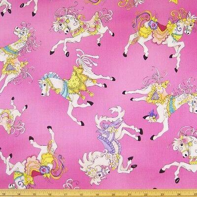 Carousel Fairground Horse Ride 100% Cotton Dress Fabric