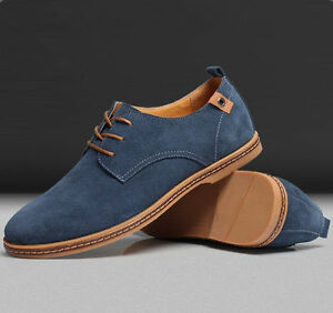 New-Mens-Casual-Dress-Formal-Oxfords-Flats-Shoes-Genuine-Suede-Leather-Lace-Up
