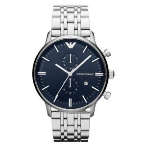 Emporio-Armani-AR1648-Chronograph-Silver-Band-Dark-Blue-Dial-Men-039-s-Wrist-Watch