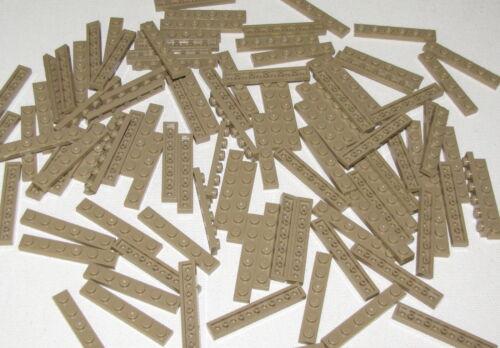Lego Lot of 100 New Dark Tan Plate 1 x 6 Dot Building Block Pieces