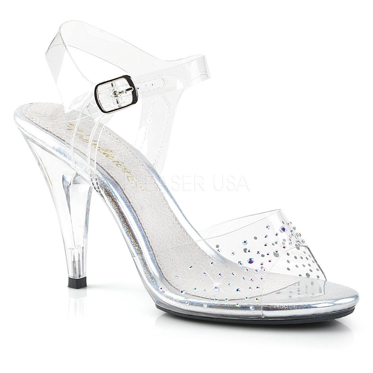 PLEASER Sexy Clear 4  Heel Sandals Ankle Strap Rhinestones Pageant damen schuhe