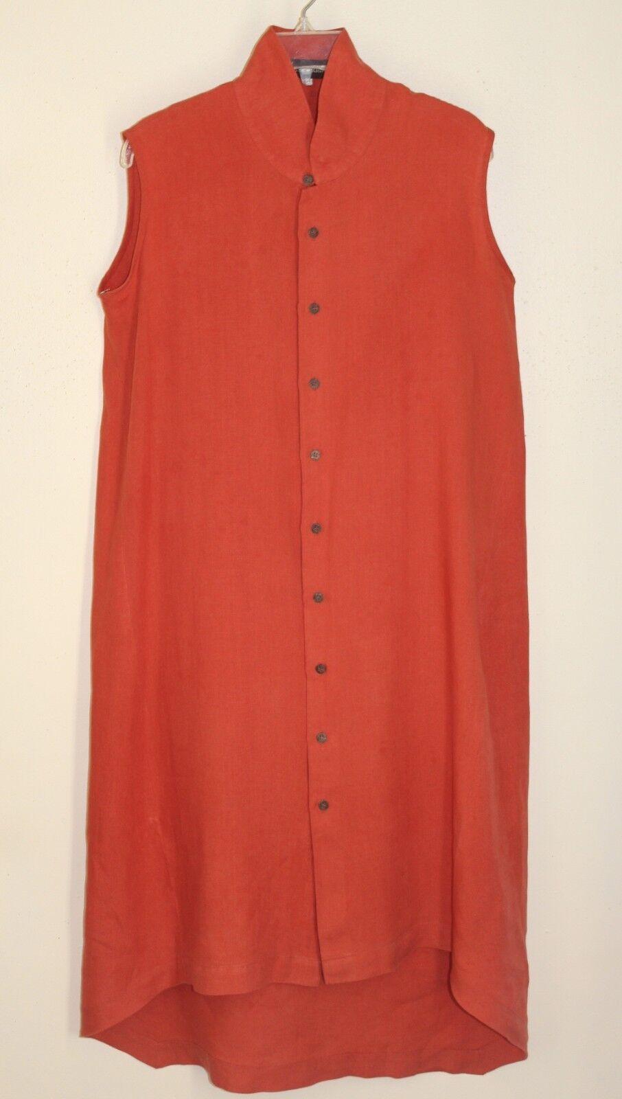 Eskandar -Sz 0 orange Hi-Low Hem Mandarin Collar Button Down Dress