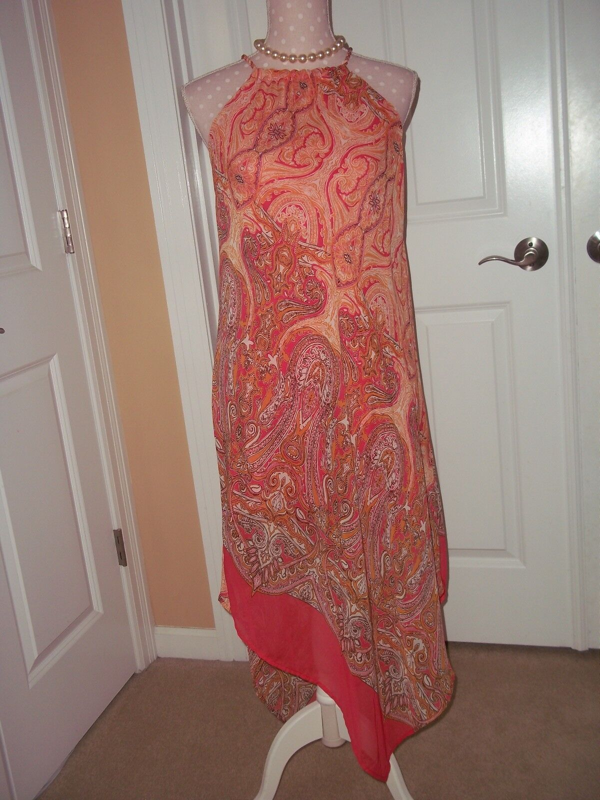 Tiana b coral paisley halter scarf dress M spaghetti straps . lined