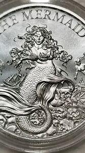 Mermaid-1-oz-999-Silver-round-Siren-Pirate-little-mermaid-ariel-sea-maiden-NEW