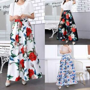 Maxi-dress-floral-high-waist-vintage-flared-women-retro-pleated-skater-Skirts