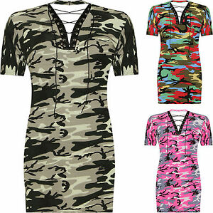 New Ladies Short Sleeve Choker V Neck Lace Tie Camouflage Print Women's Top Plus