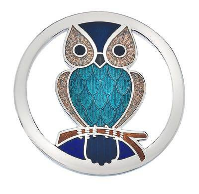 New Turquoise Blue Japanned Enamel Owl Bird Round Cut Out Brooch in Gift Box