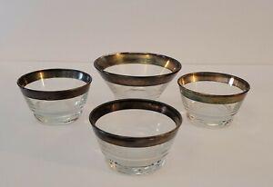 Libbey's Mid-Century Glass Dessert/Custard Dishes Silver Rim Lot of 4 Vintage