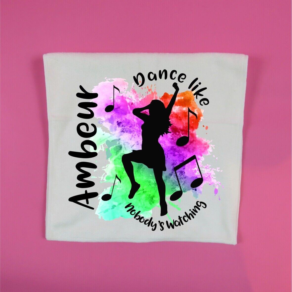 personalised dance towel Dance like nobody's watching colour splash gym glass