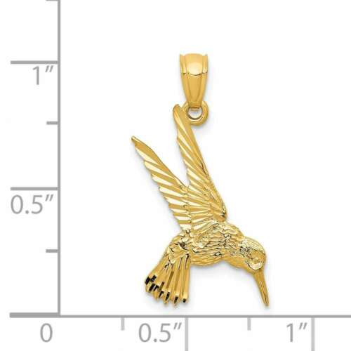 14K Yellow Gold Hummingbird Pendant YC597