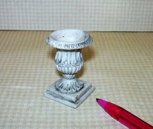 "1 11//16/"" Tall GREY DOLLHOUSE 1:12 Miniature Large Resin Urn Planter"