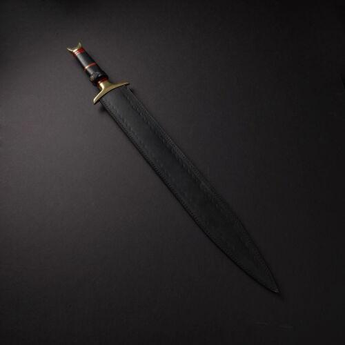 BEAUTIFUL CUSTOM HANDMADE 30 in DAMASCUS STEEL HUNTING SWORD WITH SHEATH