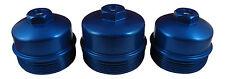 6.4L Powerstroke 3Pc BLUE Billet Oil Filter + Fuel Filter Upper + Lower Cap SET
