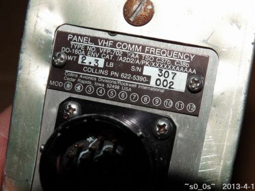 No Test Spare Parts Collins Radio VFP-702 622-5390-002 VHF Comm Panel