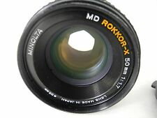 MINOLTA ROKKOR-X MD LENS 50/1.7 PERFECT GLASS SMOOTH FOCUS AND APERTURE W/CAPS