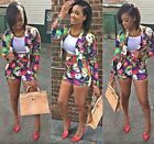 Sexy Women Floral Print Long Sleeve Casual Top Blazer Hot Pants Shorts Set Suit