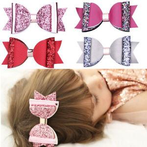 Cute-Hair-Clip-Bow-Girls-Double-Glitter-PU-Leather-Cartoon-Hairpins-Accessories