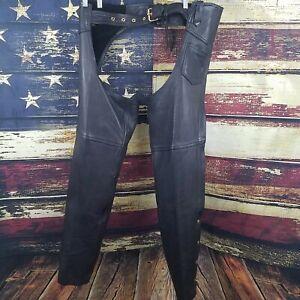 Hudson Leather unisexe en cuir noir zip/snap up moto équitation chaps XL