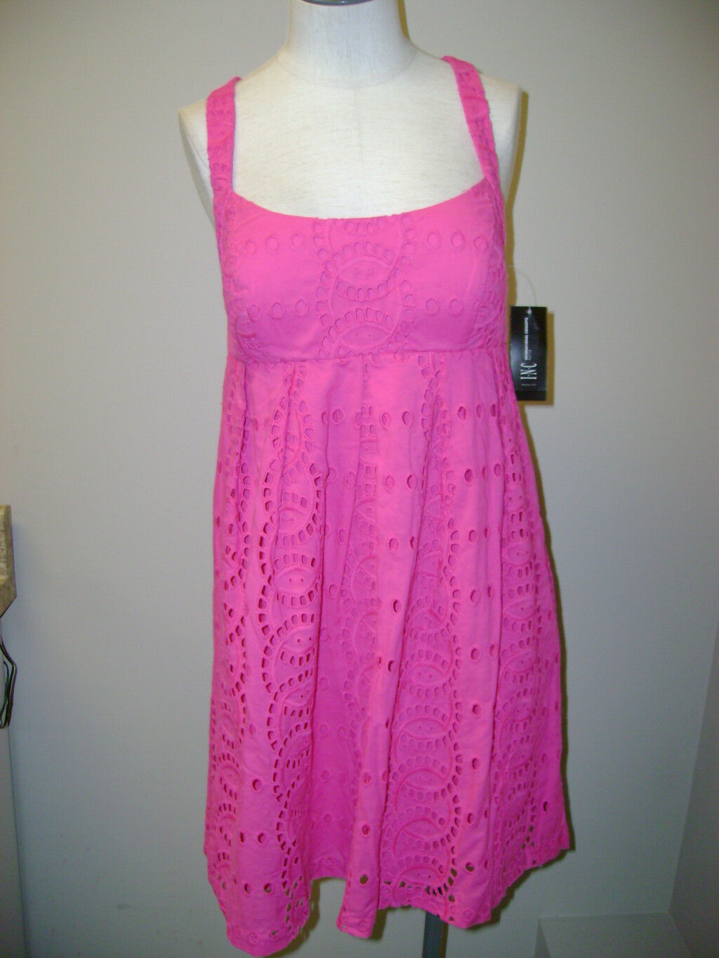 INC Petite Frosty Pink Dress w Cutout Pattern NWT