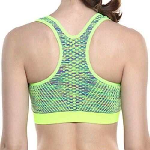 Women Zip Up Padded Sports Bra Gym Yoga Push Up Crop Vest Stretchy Trainer Top