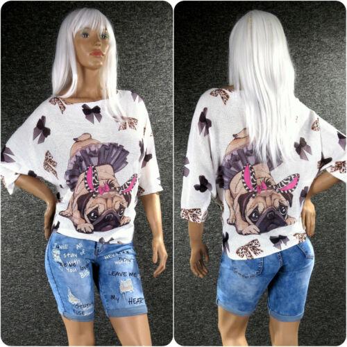 ZAZOU Strickpullover Print MY DOG 7//8 Fledermausarm Uni S M L XL Pullover Z109