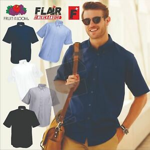 Fruit-Of-The-Loom-Men-039-s-Short-Sleeve-Oxford-Shirt-5-Colour