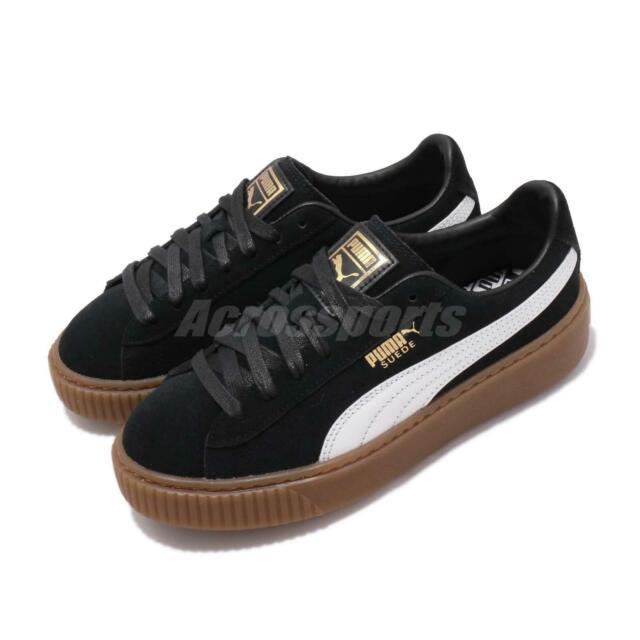 Puma Suede Platform Core Black White Gum Women Casual Shoes Sneakers 363559 02