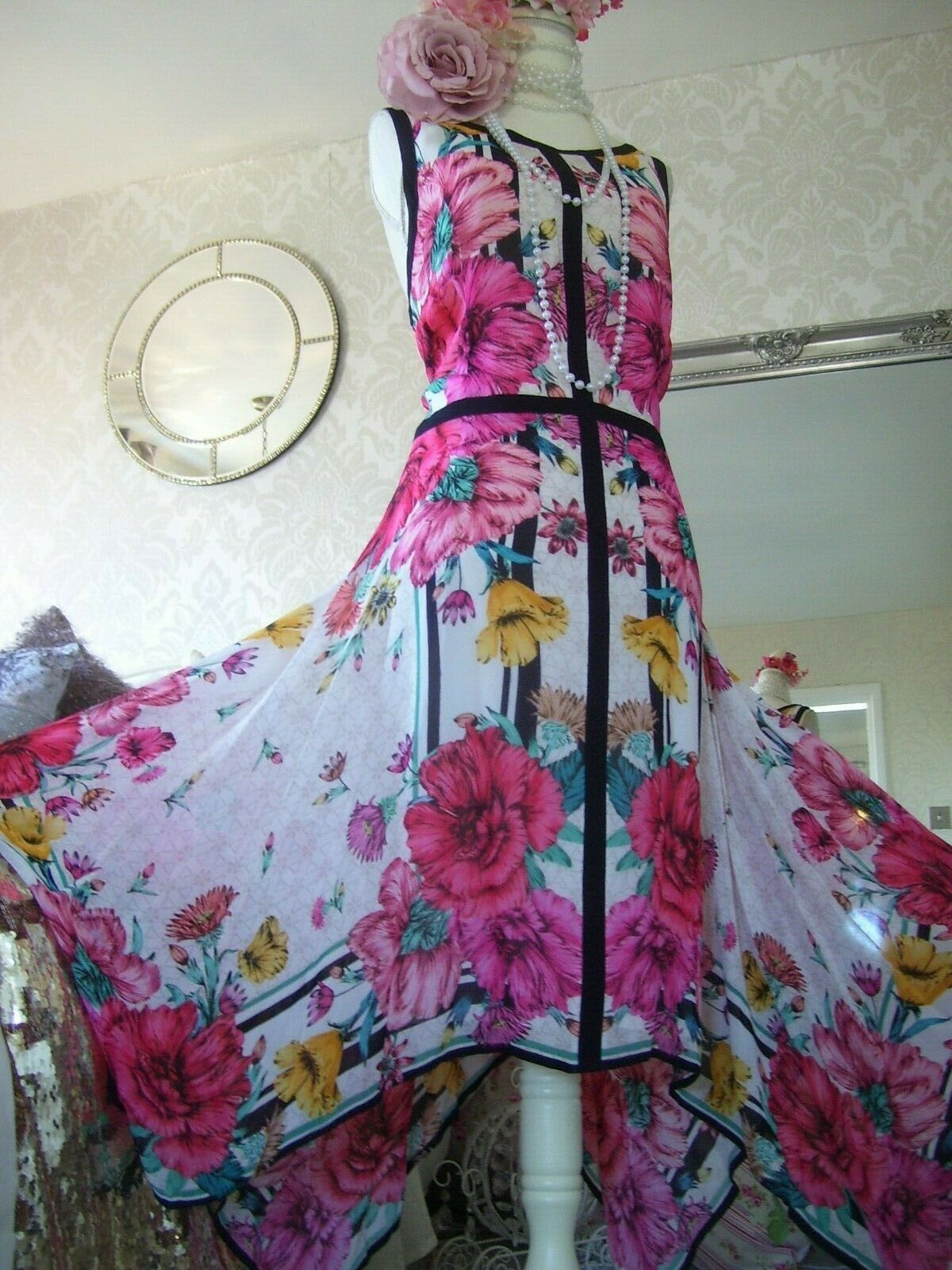 Monsoon NEW TAGS Georgia Hanky Hem Dress Size 18 Floral Pinks Summer Dress