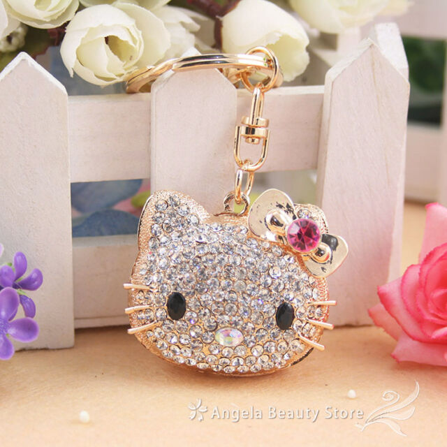 New Dazzling Lovely Pink Cat Rhinestone Crystal Charm Pendant Key Bag Chain Gift