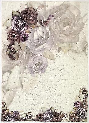 Rice Paper for Decoupage Decopatch Scrapbook Pink Roses