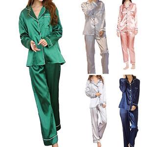 c343057fa3b8 Women Silk Satin Pajamas Set Shirts Long Sleeve Nightwear Blouse ...
