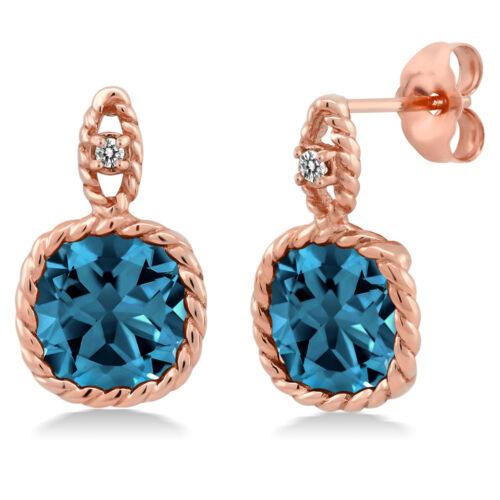 5.51 Ct Cushion London Blue Topaz White Diamond 10K Rose Gold Earrings
