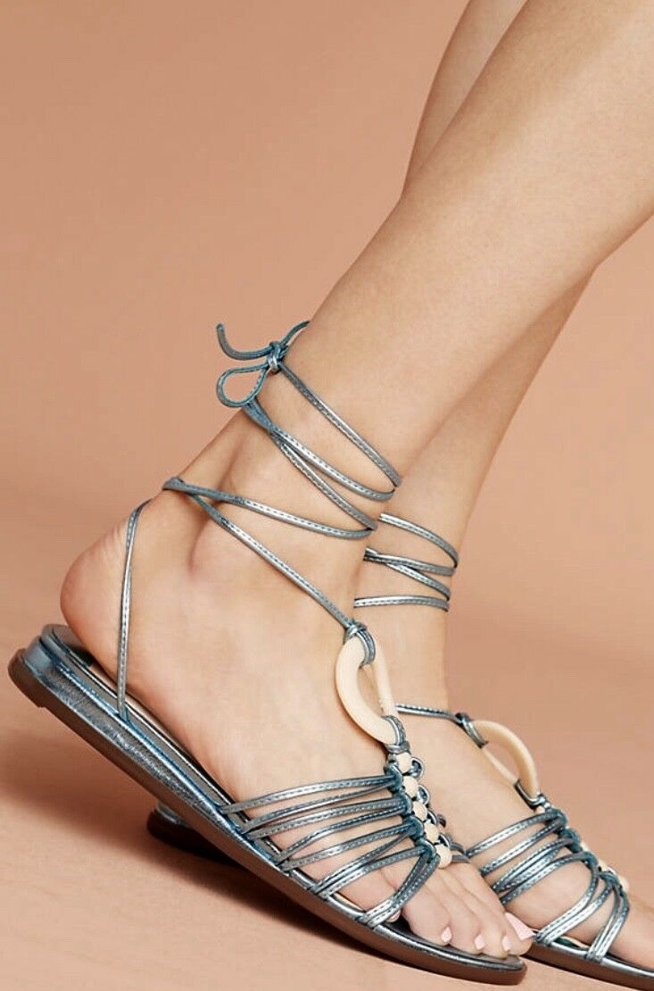 NIB Anthropologie Farylrobin Blau Metallic Leder Lace Up Strappy Sandale 8.5