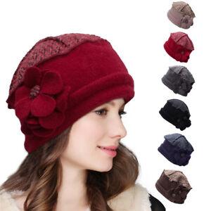 f3b4c68498517 Image is loading Floral-Womens-Ladies-1920s-Wool-Beret-Beanie-Cap-