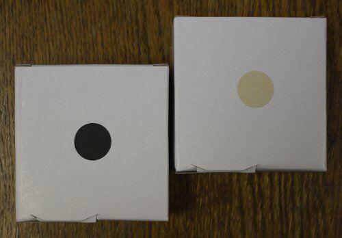 """3//4/"""" Round Self Adhesive Target Paster Set 1000 Black plus 1000 Buff"""