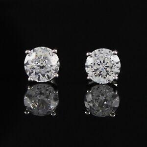 Details About Qvc Diamonique Earrings 100 Facet 2 00 Cttw Stud Platinum Clad