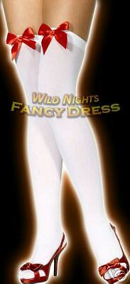 Red Bow ***SALE*** Fancy Dress Stockings # White Stockings